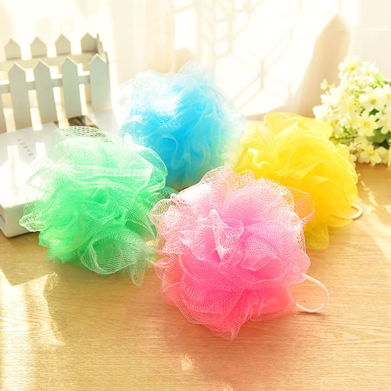 Solid Color Bath Ball  Bathing Towel Scrubber Body Cleaning Mesh Shower Wash For Bathroom KG66