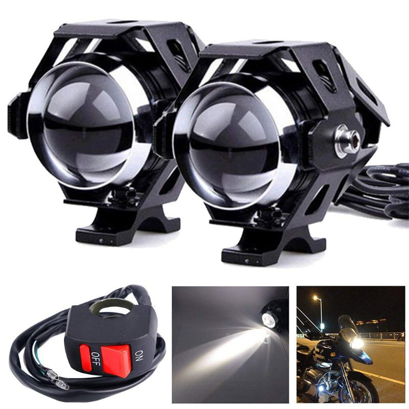2 Pcs U5 Motorcycle LED Headlight Driving Fog Light Super Bright External Spot Bulb Lamp Motorbike Accessories Motor Parts