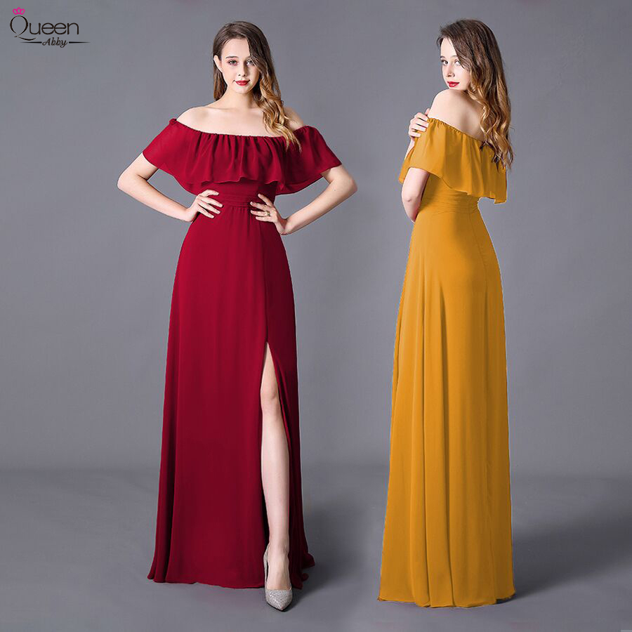 Split Front Evening Dresses Long Ruffles Burgundy Long Elegant Party A-Line Sleeveless New Wedding Guest Gowns Robe De Soiree