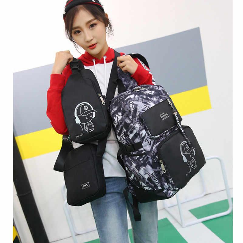 Novo 2 em i1 high school usb masculino mochila definido para meninos saco de peito saco de livro estudante das mulheres dos homens mochila de viagem escolar 2018