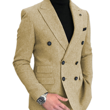 Blazer Jacket Wedding-Groomsmen Formal Double-Breasted Wool-Suits Tuxedos One-Piece Patterned