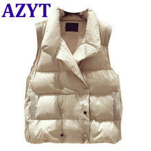 Women's Vest Padded-Down Sleeveless Jacket AZYT Winter Coat Loose Cotton Casual New Warm