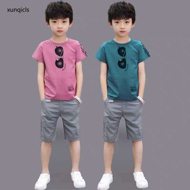 New Arrival Summer Boy Clothing Baby Boy Short Sleeve T-Shirt +shorts2pc Kids Outfits Baby Children Boys Clothes Set