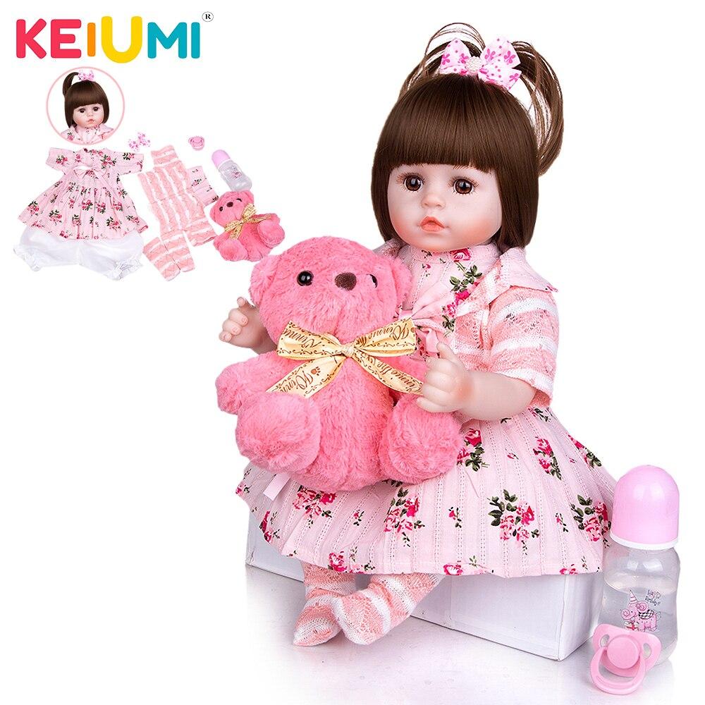 KEIUMI Boneca Bebê Reborn Realista Delicada Pequena 48cm Corpo Tecido Original Barata Vestido Ursinho Dia Das Crianças Natal