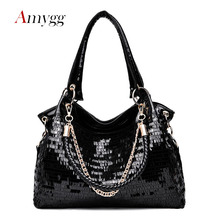 New Sequin Black Chain Patent Leather Bag