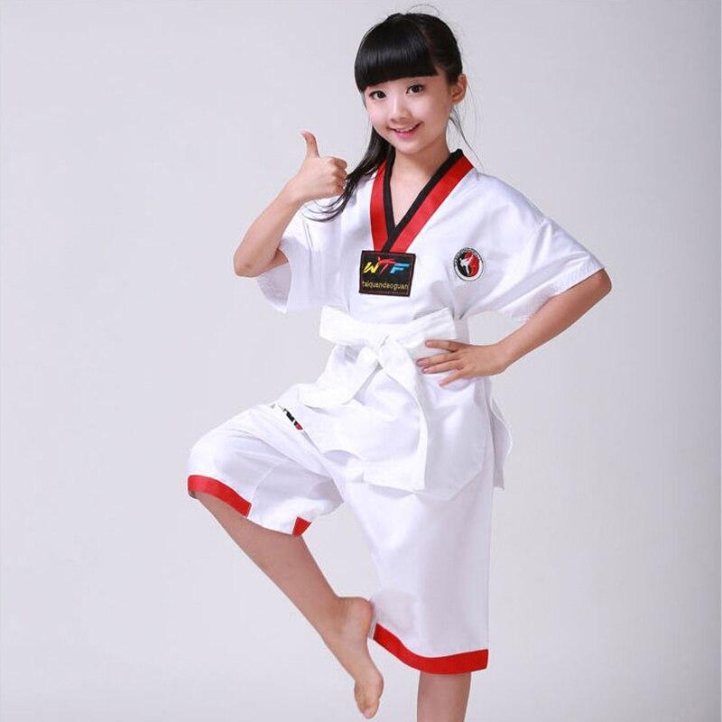 Hot Sale Kids Taekwondo Uniform Traditional White Suite For Kids Student Tae Kwon Do Dobok WTF Approve Black V-Neck Uniforms