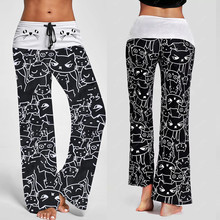 Women Casual New Fashion Cat Prints Drawstring Pants Leggings  printed wide-leg pants for women trousers pantalon femme