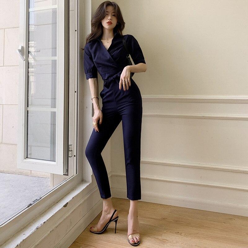 WOMEN'S Suit 2019 Summer Ol Career Elegant V-neck Lace-up Shirt Waist Hugging Slimming Capri Pants Two-Piece Set