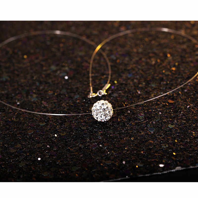 Fashion Invisible Transparent Fishing Line Necklace Rhinestone Pendant Zircon Neck Lace Women Jewelry