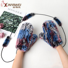 Fashion Winter Gloves For Women 100 Genuine Rabbit Leather Gloves Knitted Gloves Warm Gloves And Mittens cheap NoEnName_Null Adult Gloves Mittens Solid Wrist AW-D 9
