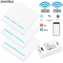 SMATRUL Tuya vida inteligente APP WiFi interruptor luz RF 433Mhz de la pared 110V 220V DIY relé temporizador para Google Alexa de Amazon(China)