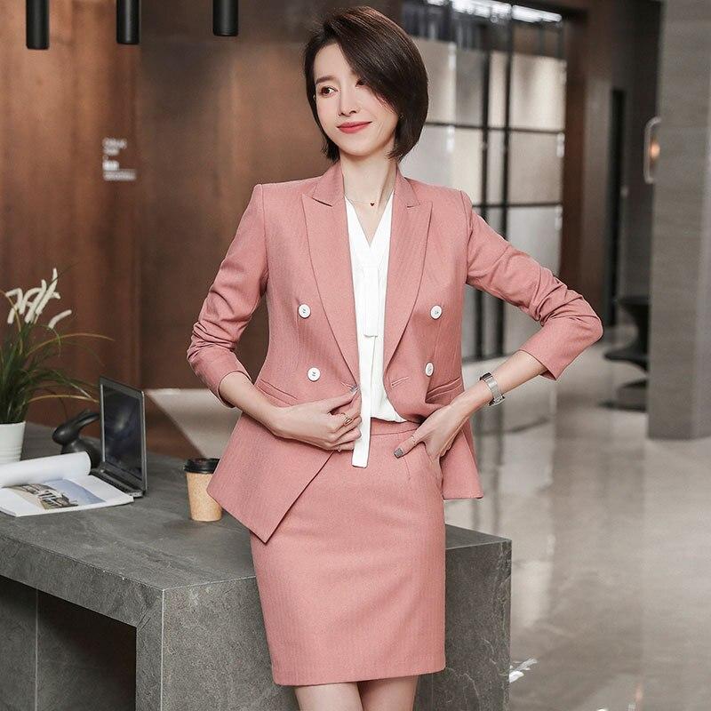 Professional Women's Skirt Suit Spring New Temperament Pink Blazer + Pants Dress Professional Skirt 2piece Set Women