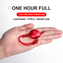 Baseus 3 in 1 Multi USB Charger Cable Retractable 1.2m 3.5A Fast Charging Cord with Lightning, Type C, Micro for Phone Table