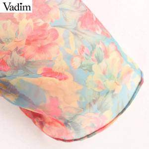 Image 5 - Vadim Женская Сексуальная Цветочная Органическая блузка прозрачный стиль галстук бабочка с длинным рукавом женские прозрачные шикарные топы blusas LB311