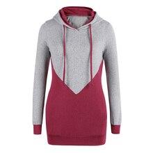 Fadzeco 2019 Otoño e Invierno nueva mujer con cordón con capucha suéter mujer de color a juego camisa de manga larga casual camiseta