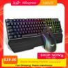 HAVIT HV Gaming Tastiera Meccanica 104 Chiavi di RGB Luce Blu/Rosso Interruttore Tastiera con cavo o la Tastiera Mouse Set Ru/versione inglese