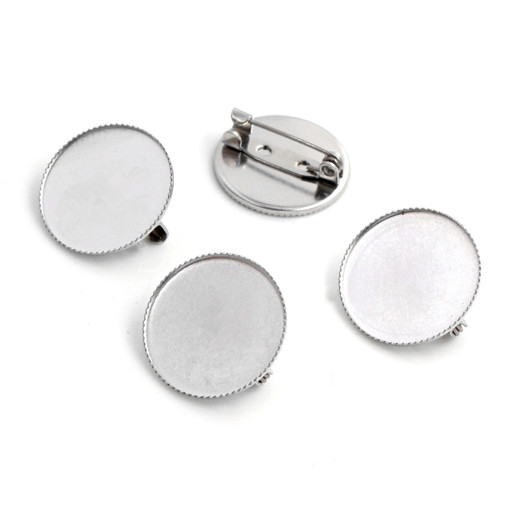 ( No Fade ) 10pcs 20mm Inner Size Stainless Steel Material Brooch Style Cabochon Base Cameo Setting Charms Pendant Tray (S2-29)