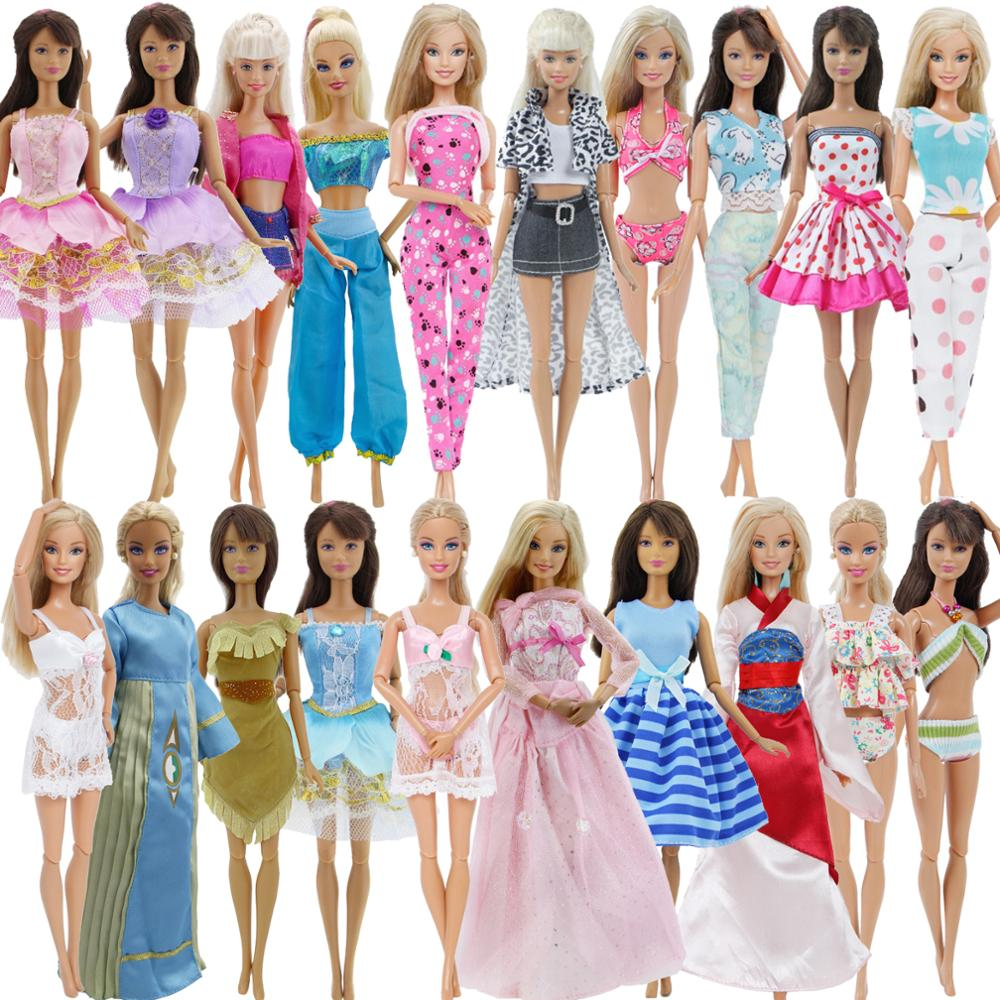 Randomly Pick 5 Sets Doll Outfit Dress Swimsuit Pajama Skirt Trousers Pants Blouse Clothes For Barbie Doll Accessories Toy