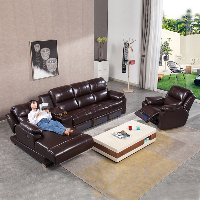 recliner leather sofa combination head leather modern simple sofa sofa set living room furniture image
