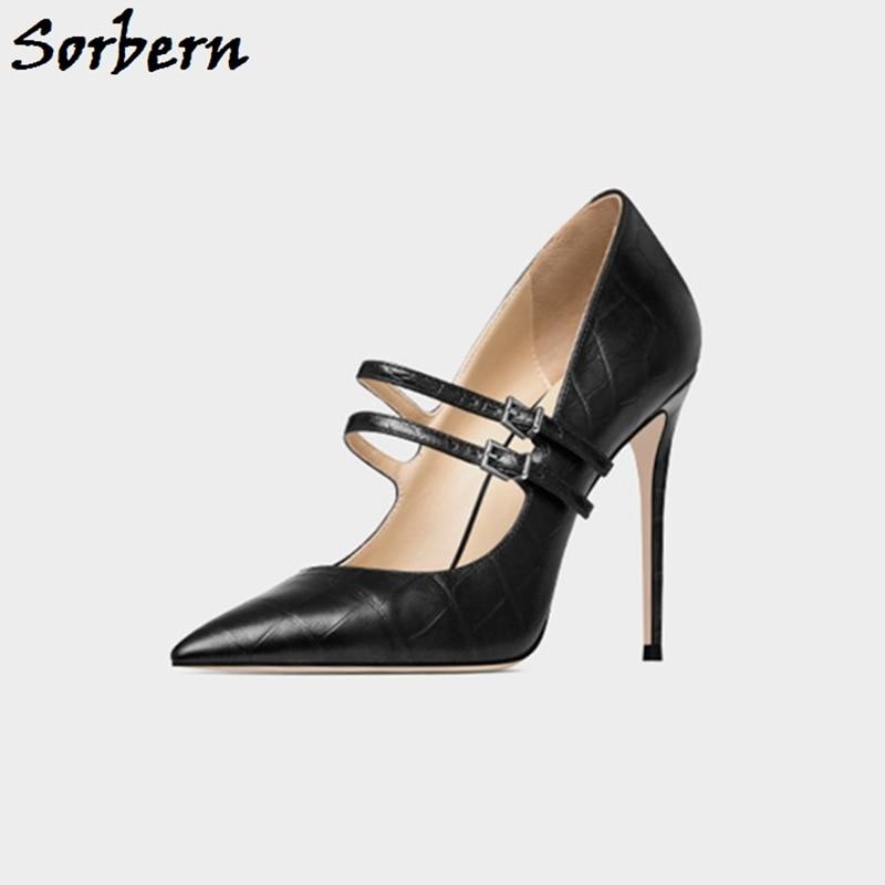 Sorbern Mary Janes Women Pump High Heel Pointy Toe Shoes Slip On Stilettos Custom Size 15 Womens Shoes Mature Style Shoe Lady