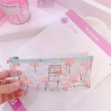 PVC large pencil bag stationery storage bag school office supplies simple small fresh transparent stationery pencil case(China)
