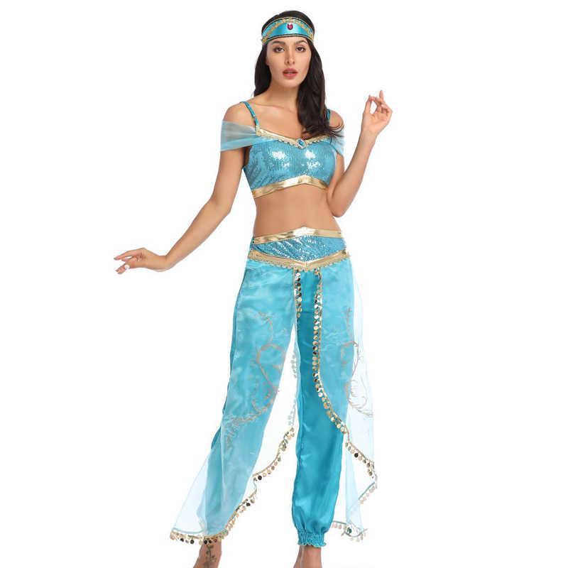 Jasmine Disfraz De Halloween Vestido De Fiesta Princesa Elegante Conjunto De Ropa Top Pantalones Diadema Adultos Mujeres Aladdin La Lampara Magica Traje Disfraces Para Ninas Aliexpress
