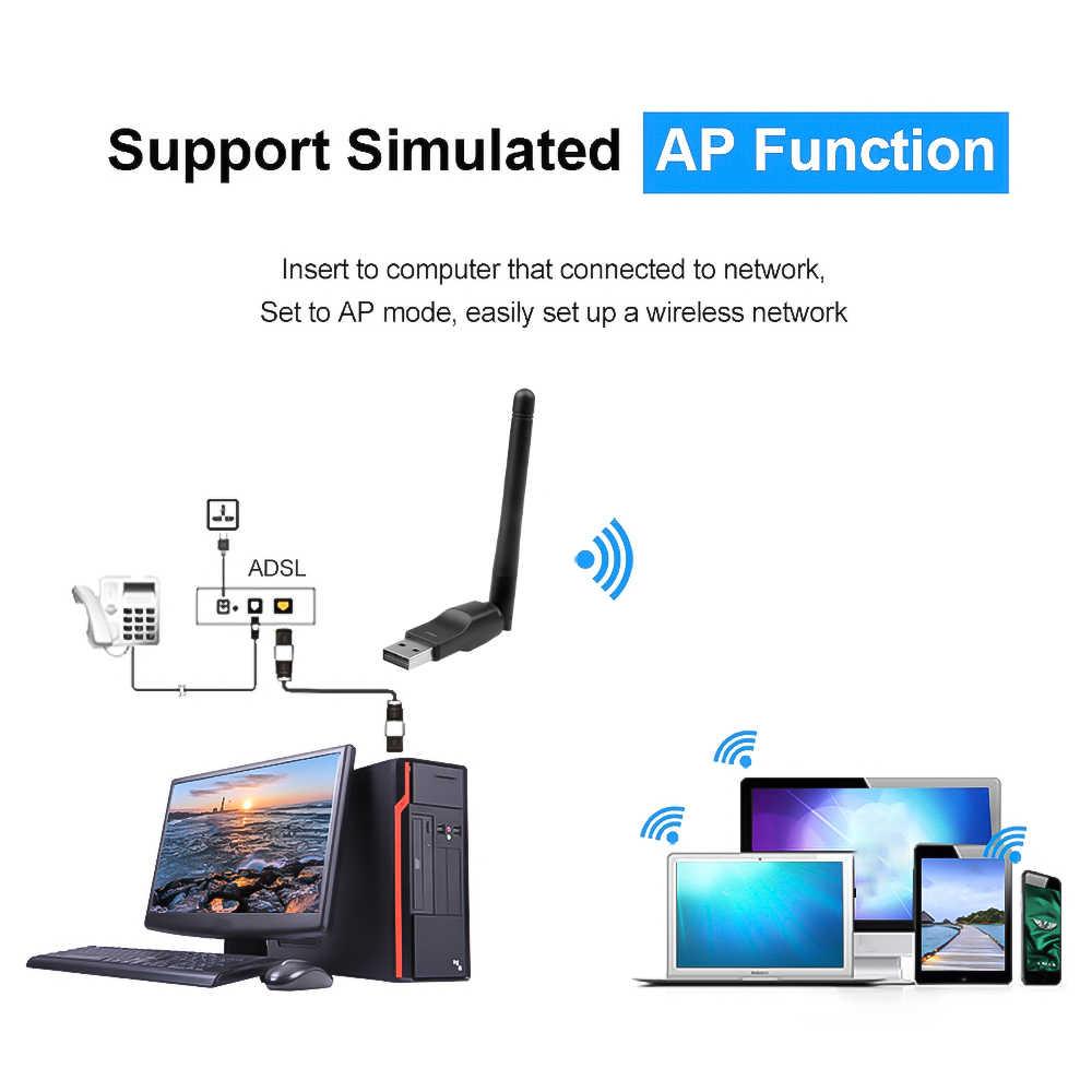 واي فاي صغير دونغل MT7601 اللاسلكية واي فاي بطاقة الشبكة 150 متر USB 2.0 802.11 b/g/n LAN هوائي محول مع هوائي لأجهزة الكمبيوتر المحمول