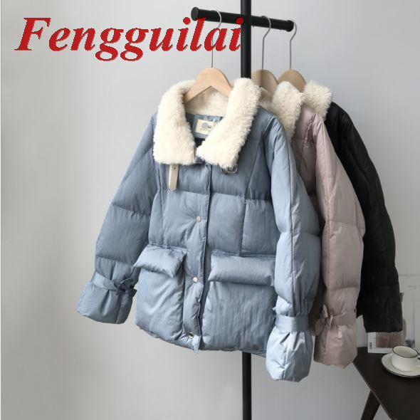 Fengguilai, Женская куртка, Осень зима 2019, отложной воротник, Женское пальто, женская верхняя одежда, Женская Толстая теплая короткая куртка, тонк...