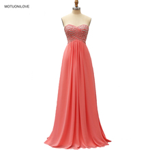 Coral Beaded Elegant Evening Dress Gown Long Chiffon Formal Women Party Prom Graduation On Sale Free Shipping
