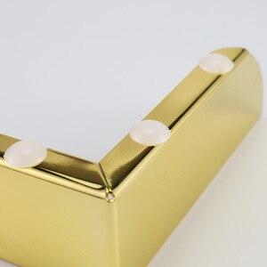 Image 3 - 4 stücke Gold Metall Möbel Beine mit Gummi Füße Pad Schrank Tisch Beine Hardware Sofa Möbel Fuß Ebene