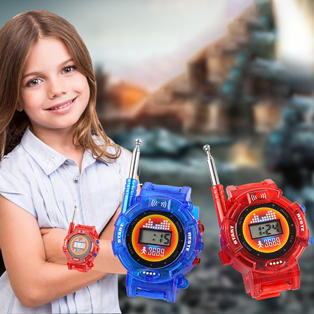 2pcs Kids Toy Portable Wrist Watch Long Range Family Interactive Walkie Talkie Random Color Children Battery Powered Intercom