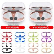 Protector de polvo de Metal para Apple AirPods 1 2 accesorios de la cubierta de la carcasa pegatina de protección de la piel de los AirPods 2 ° de virutas de hierro