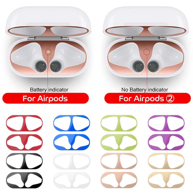 Protection contre la poussière en métal pour Apple AirPods 1 2 accessoires de couverture de boîtier autocollant de Protection peau protégeant les dosettes d'air 2nd des copeaux de fer