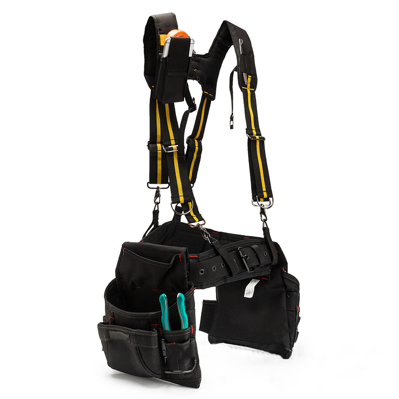 H-type Design Padded Heavy Duty Work Tool Belt Braces Suspenders With 4 Support Loops For Reducing Waist Weight Tool Pouch