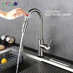 Сенсорный кухонный кран SDSN с умным сенсорным управлением, кухонный кран из нержавеющей стали, выдвижной кухонный смеситель, датчик, кухонны...