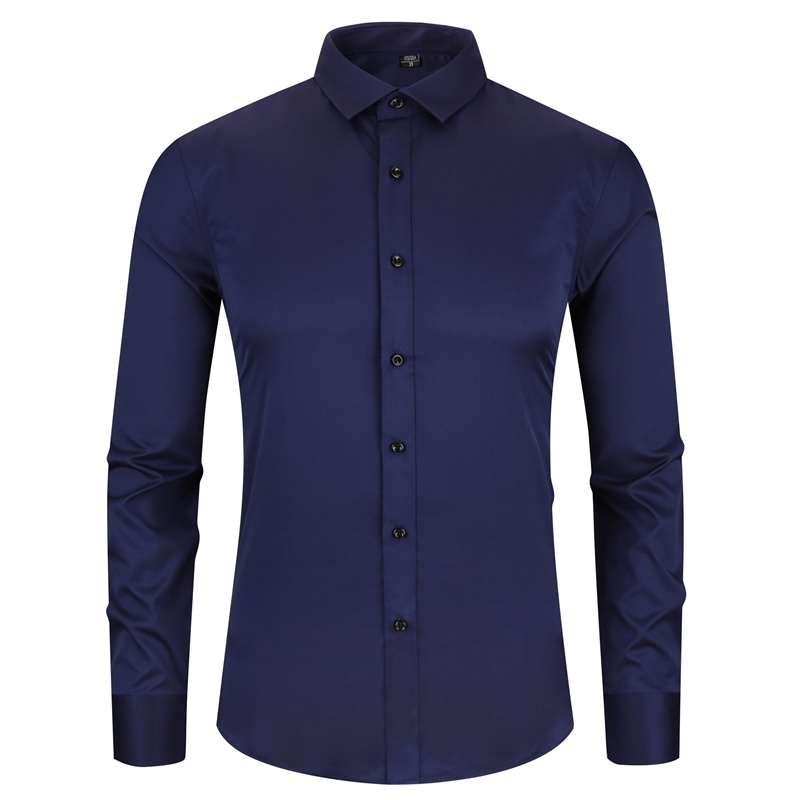 Bamboo Fiber Men Dress Shirt Red Wine Elasticty Slim Fit Long Sleeve Male Casual Shirt High Quality Soft Smooth Breathable 4XL