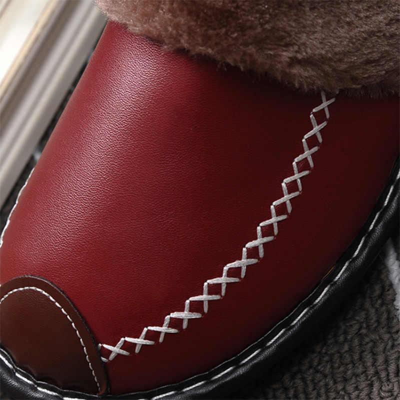 Kadın ev düz terlik kış peluş kadın ayakkabı Pu deri dikiş ayakkabı kadın rahat artı boyutu rahat platform ayakkabılar