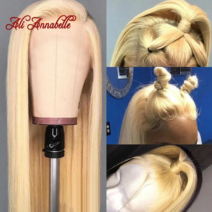 ALI ANNABELLE 613 Blonde Wig Brazilian Straight Lace Front Human Hair Wigs Pre Plucked With Baby Hair 5x5 Lace Blonde Hair Wigs