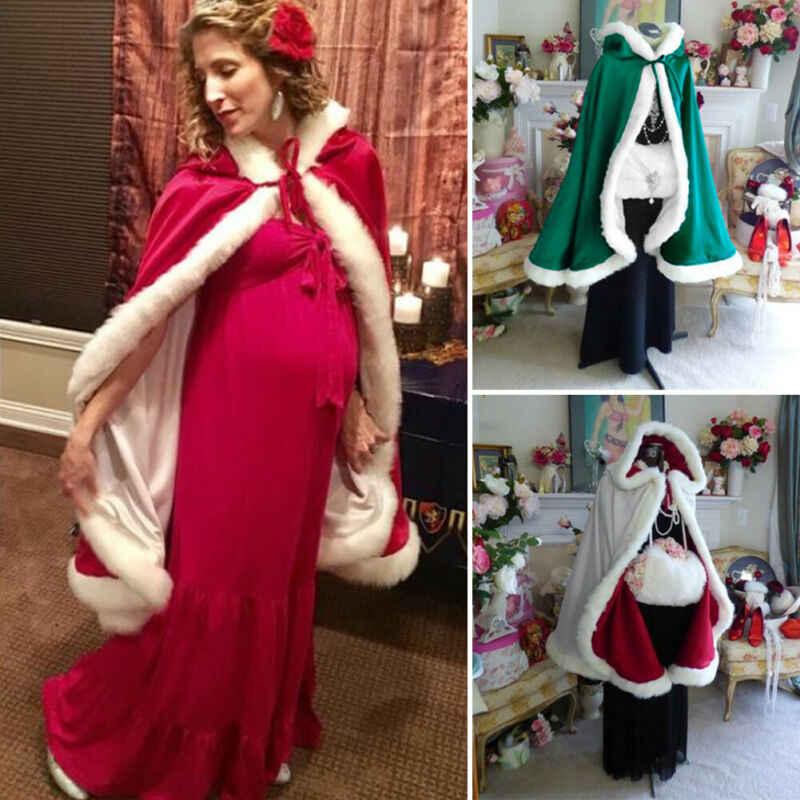 120 Cm Wanita Natal Jubah Berkerudung Jubah Beludru Merah Santa Claus Deluxe Jubah Cape dengan Berbulu Putih Trim Musim Dingin Hangat mantel