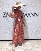 Australia Popular Brand Pink Flower Flax Stand Collar Lantern Long Sleeve High waisted Dress