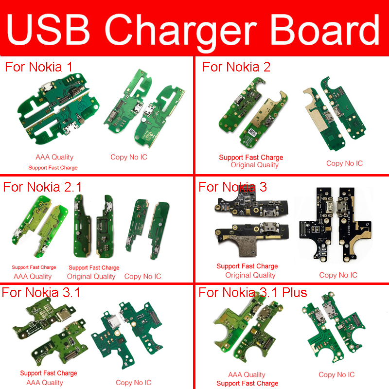 Charger USB Jack Dock Board For Nokia 1 2 2.1 3 3.1 Plus 5 5.1 Mic Flex Cable Charging USB Port Board Module Replacement Parts