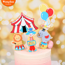 1 Set Circus Party Cake Topper Clown Acrobatics Theme Happy Birthday Decoration Kids Cartoon Supplies
