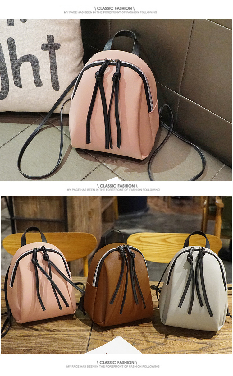 Casual Small Waterproof Backpack Women Solid Color Pu Leather School Bag Simple Mini Zipper Bookbags And Girls Travel Backpacks (15)