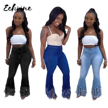 2020 Women Classic Zipper Fly Washed Tassel Hem Wide Leg Skinny Denim Pants Fashion Streetwear Sexy Jeans Trousers Plus Size 2XL zipper fly plus size cat s whisker design straight leg jeans