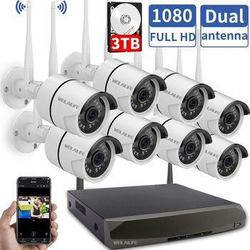 8CH Wireless 1080P HD Outdoor Home Security Camera System CCTV Video Surveillance NVR Kit 1080P Wifi Camera Kit 3T HD WEILAILIFE anran 4ch hd 720p hd wifi nvr 7 lcd monitor 1 0 megapixel outdoor security wireless ip camera video surveillance system for home