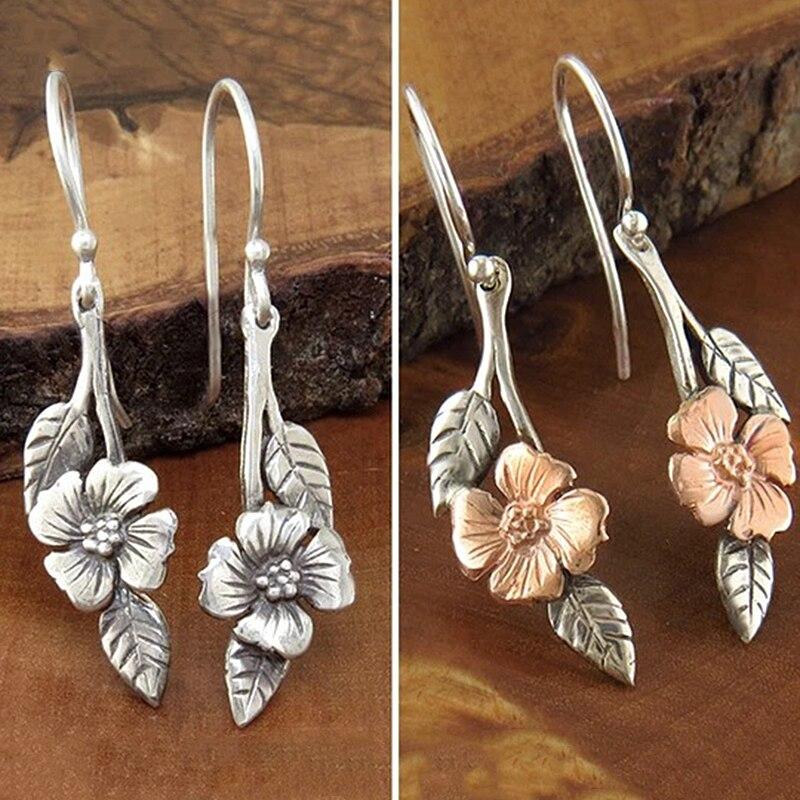 Винтажные индийские висячие серьги boucle d'oreille, золотистые, серебристые, цветные, с цветком, листьями, висячие серьги для женщин, металлически...