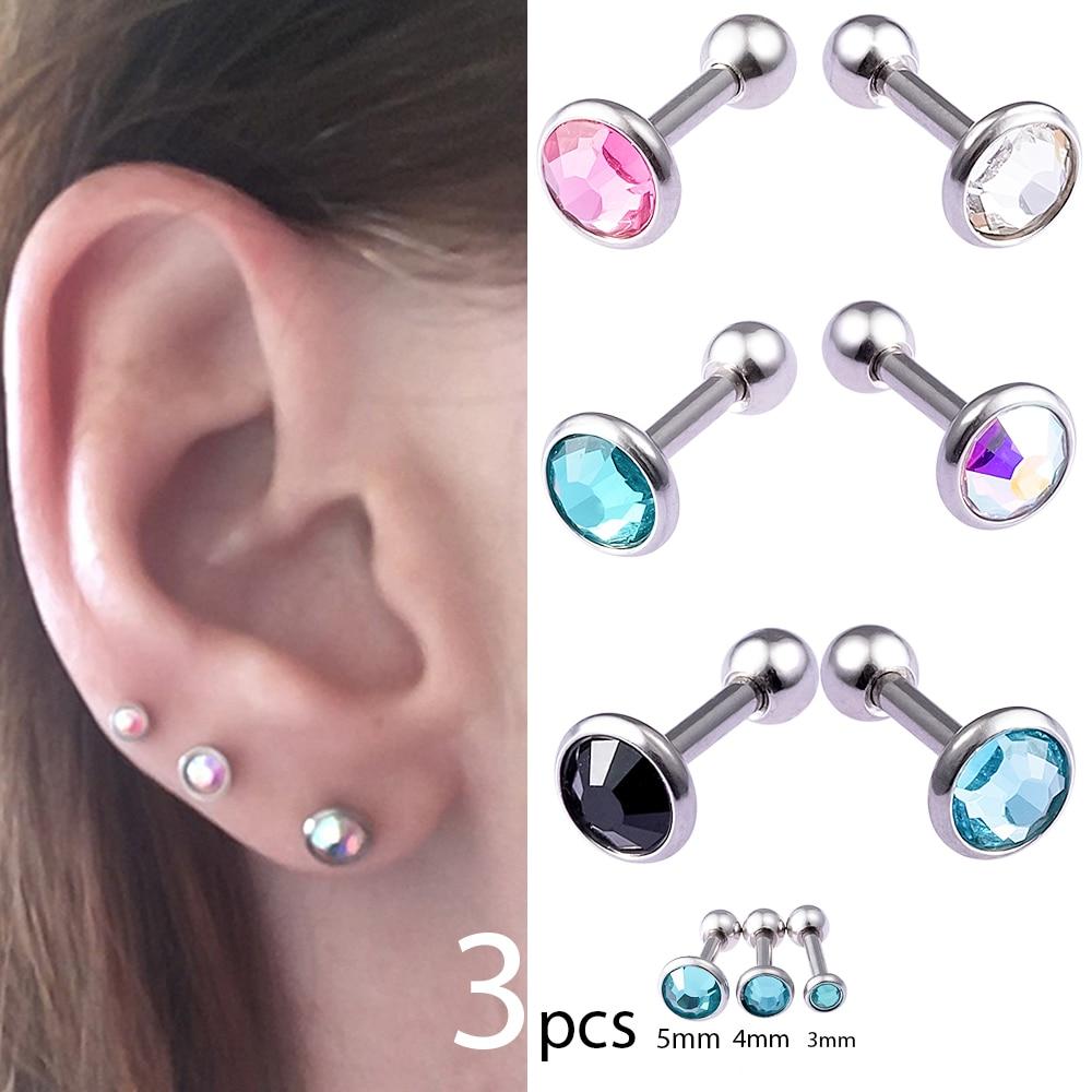 2 Pcs Round Tragus Lip Ring Monroe Ear Cartilage Stud Earring Body Piercing RS