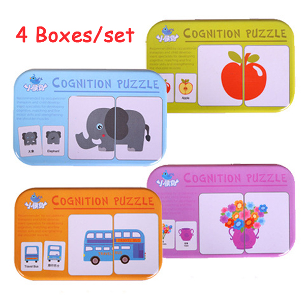 4 Pcs/set Kids Puzzles Toys Montessori Wooden Matching Puzzle Game Toys For Children Early Educational Pair Cards Toys With Box
