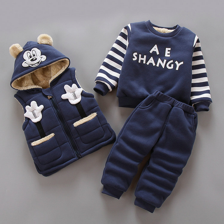 2019 Autumn Winter Children's Clothes Boys Girls Thick Warm Clothes 1-4 Year Toddler Clothing Set Three-piece Suit Outfit Sets