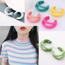 Round Earrings Fashion Jewelry Design Three-layer Metal Multicolor Ear Ring Hoop for Women Circle Fluorescent